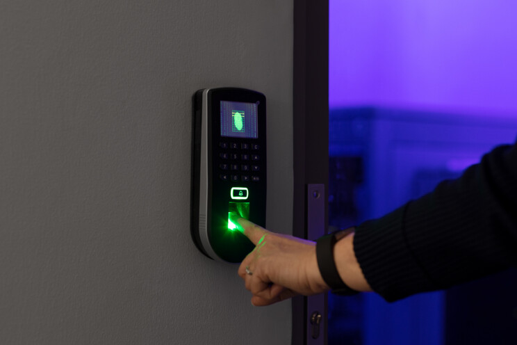 Biometric access control reader in operation