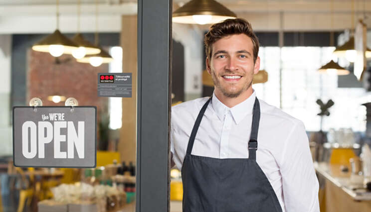 Securitas small business male restaurant with sticker wide