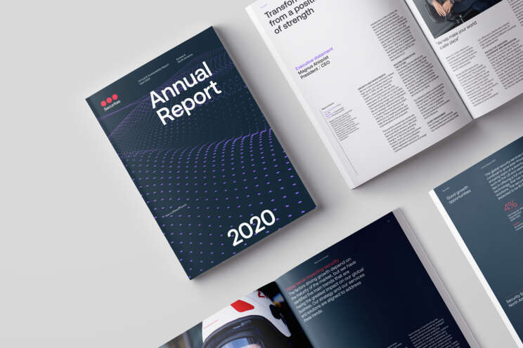 Image of annual report cover 2020 and pages with space to the left for web page heading