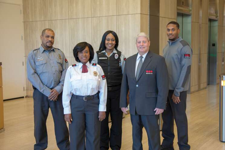 Securitas security officers in a lobby.