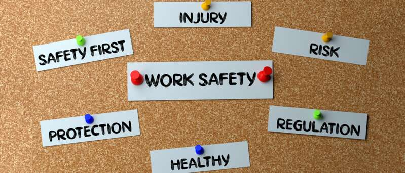 Bulletin board with safety messages