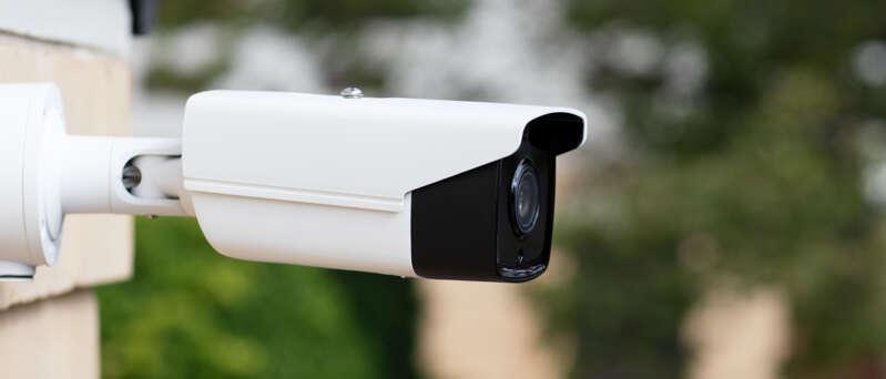 CCTV bullet camera installed on a building
