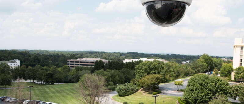 CCTV camera watching over a car park