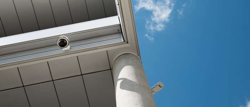 CCTV cameras installed on a building